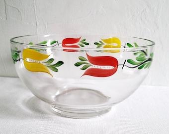 Hand Painted Glass Bowl Hazel Atlas Gay Fad Floral Design