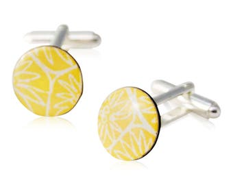 Yellow cufflinks, silver plated cufflinks, first anniversary gift, gift for groom, paper gift, round cufflinks, gift for him, wedding gift,