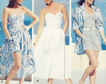 80s Womens Shirt, Camisole Top, Button Front Skirt & Shorts Butterick Sewing Pattern 5672 Size 8 10 12 Bust 31 1/2 to 34 UnCut