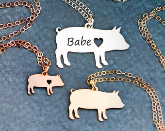 Pig Necklace Pendant Pig • Personalized Pet Pig Jewelry • Farm Animal •Animal Lover Gift Pig Charm Farm Gift Piglet Engraved Pet