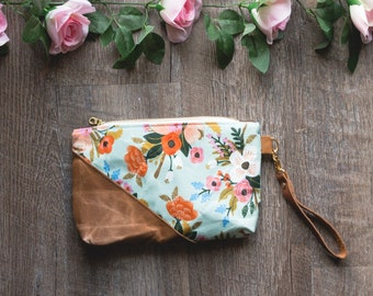 Rifle Paper Bag, Floral Bag, Waxed Canvas Pouch, Rifle Paper Co Purse, Waxed Canvas Purse, Waxed Canvas Bag, Zippered Pouch, Mothers Day