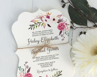Floral Boho Chic Wedding Invitation, Pink Floral Wedding Invitation, Modern Wedding Invitation, Floral, Bohemian Wedding Invitation,