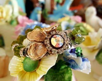 Chunky Fun Beautiful Metalwork Cuff vintage pendant focal, faceted peridot gemstones