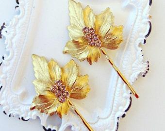 Bridal Hair Pins, Gold Hair Pins, Gold Leaf Hair Pins, Gold Bridal Headpiece, Crystal Hair Pins, Swarovski Crystal Hair Pins, Brass Leaves