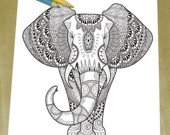 Exquisite Elephant Coloring page - Adult Coloring Page Print