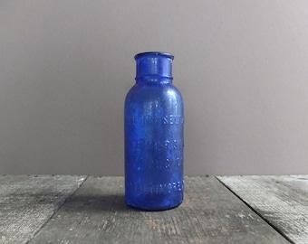 Vintage Cobalt Blue Bromo-Seltzer Bottle / Antique Glass Bottle / Blue Glass Bottle / 1940s Glass Bottle