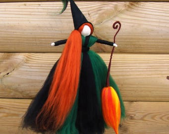 kitchen witch doll, green hedge witch, celtic pagan witch uk, eco friendly witches, voodoo wool witch, by jade shen, elf kendal fairies doll