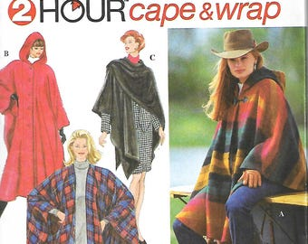 Simplicity 9223 Misses 2 Hour Hooded Cape And Wrap Sewing Pattern, Bust 30 1/2 - 42, UNCUT