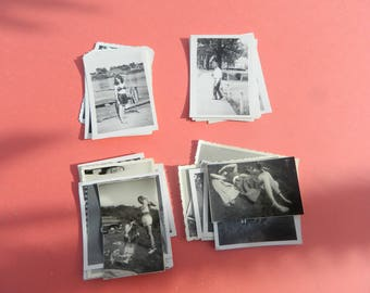 Lot Of 50 Vintage Black White Snapshots Photographs: Portraits People Land City 1930s - 1950s - #21