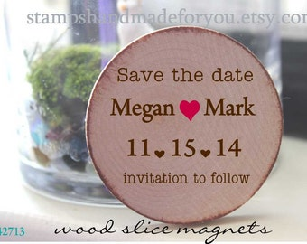 save the date wooden magnets Wedding Favor Wood Magnets-  Custom Love Sweet love favors or save the date