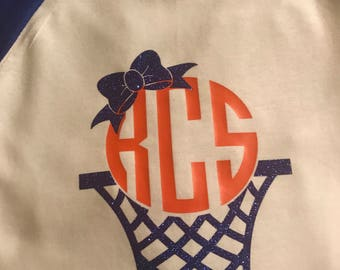 Monogramed Basketball 3/4 Raglan T-Shirt, Basketball T-Shirt, Monogrammed Basketball Net Shirt