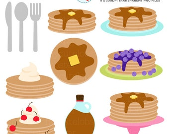 Pancakes Clipart - clip art set, pancakes, breakfast, pancake, syrup, food, crepes - personal use, small commercial use, instant download