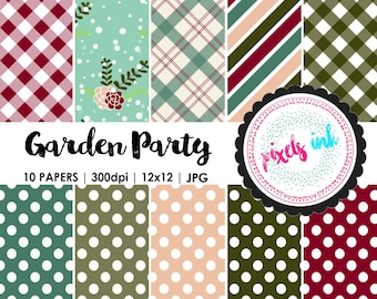 12x12 Digital Scrapbook Paper Pack | Commercial Use | Floral Paper | Seamless Gingham Papers | Seamless Polkadot  | Garden Party Papers
