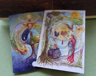 A5 Notebook Set, Celtic Shaman, Pack of 2, Workbook, Workshop, Goddess Retreat, Journal, Labyrinth, Deer, Cerridwen, Elen of the Ways