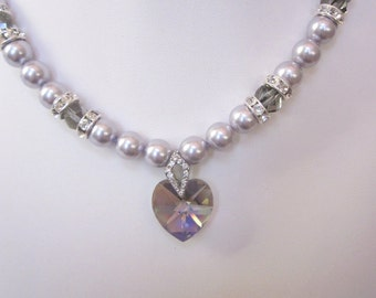 Swarovski Pearl and Crystal Necklace - Light Gray Swarovski Pearls and 18mm Black Diamond Heart - Wedding, Brides, Bridesmaids, Proms, SRAJD