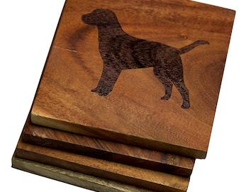 Labrador Retriever Coasters - Set of 4 Engraved Acacia Wood Coasters