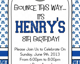 University of Kentucky, UK Wildcats Birthday Party - Blue/White Printable Invitation