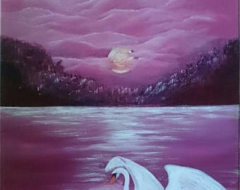 "Original acrylic painting ""Sunset swan"", signed, on 40x60cm canvas"