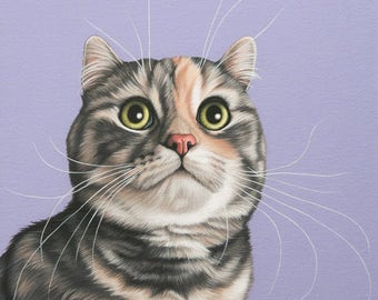 Custom Hand Painted Pet Portrait, 12x16 Munchkin Cat Painting, Hand Painted Pet Portrait, Paint My Pet, Wedding Gift Cat Lovers, Rare Breeds