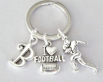 Football keyring, personalized with initial, unisex keychain gift for football player, unique gift for dad, men present, sports lover gift