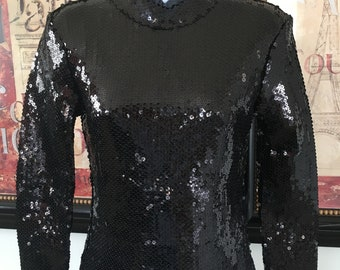 Free People Black Sequin Top