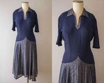 vintage 1940s dress / 40s navy blue mesh dress / small / Whale Tail Dress