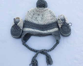Baby Boy Set. Baby Boy Hat and Booties Set. Crochet Booties and a Hat Set. Newborn Set. Boy Crochet Pompom Hat. Baby Boy Crochet Booties.