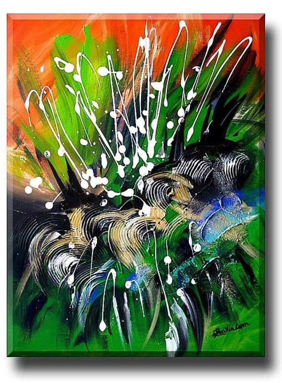 """wall art /  """"SUNNY GARDEN"""" Earth beauty art Green Black Gold White abstract art Secret Garden Hidden Dragon Chinese painting modern art"""
