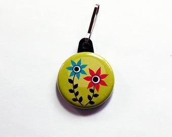 Flower zipper pull, green flower charm, purse charm, abstract flower, backpack zipper pull, zipper pull, charm, stocking stuffer (7567)