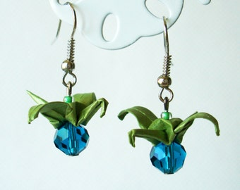 Handmade Origami Earrings with Cranes of Happiness Metallic Paper Green and Blue Glitter