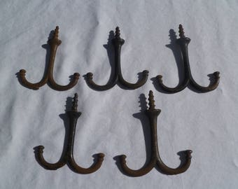 Victorian wardrobe hooks, set of 5
