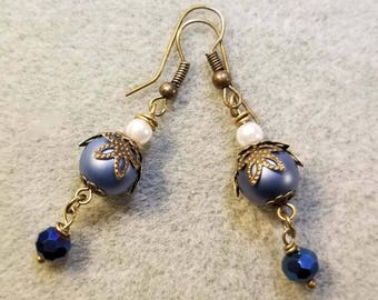 Victorian-inspired Blue Glass and pearl beaded earrings