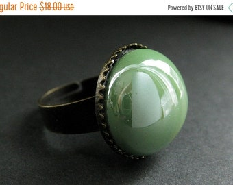MOTHERS DAY SALE Spring Green Glass Ring in Bronze. Green Ring. Bronze Adjustable Ring. Handmade Jewelry.