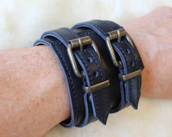 black leather strap; Bracelet of strength; strength black wrist; Bracelet wide black leather