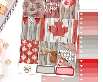 Canada Day Weekly Kit Planner Stickers for use in Erin Condren Vertical