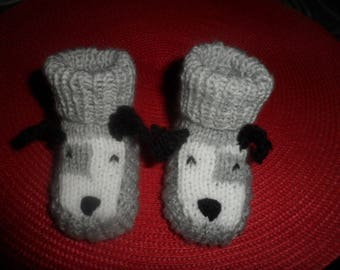"Baby booties (0-3 months) woolen ""Dog"""