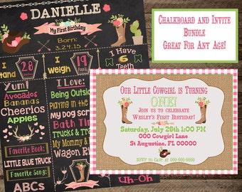 cowgirl first birthday, cowgirl chalkboard, cowgirl invite, western chalkboard, western invitation, first birthday cowgirl theme, second, 3