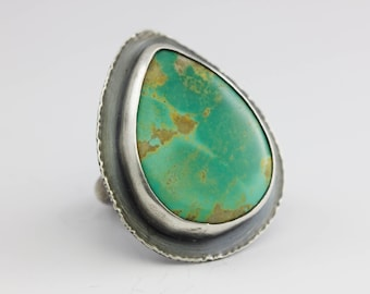 Turquoise Ring Sterling Silver Ring Chinese Turquoise Pear-shaped Boho Jewelry Mother's Day Gift for Her Size 5