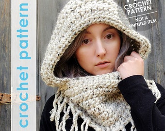 crochet pattern, cowl pattern, chunky hooded cowl, hooded cowl, fantasy, elf hood, men hooded scarf, womens hooded cowl, mothers day gift