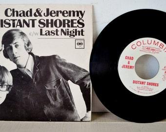 rare 1960s vintage DJ Promo /  Chad and Jeremy 45 RPM record / 1960s Radio Station Copy