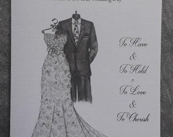 Handmade Personalised A5 Wedding Card Hand Drawn Design