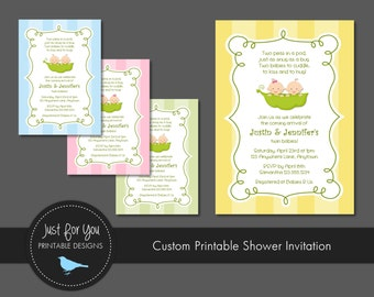 Baby Shower Invitation for Twins - Two Peas In A Pod - YOU PRINT (Digital File) Custom Baby Shower Printables
