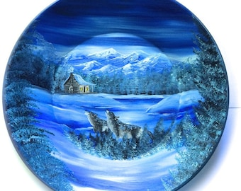 Hand Painted 11 Inch Gold Pans Mountain Winter Cabin and Wolves On Sale!!