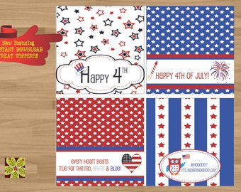 INSTANT DOWNLOAD - Printable 4th of July Treat Toppers (Fourth of July Treat Toppers)