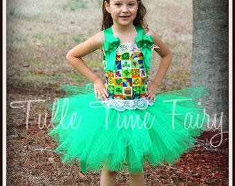 Rainbow's end St Patrick's day pageant corset tutu dress 6/9m 12m 18m 2t 3t 4t 5t 6