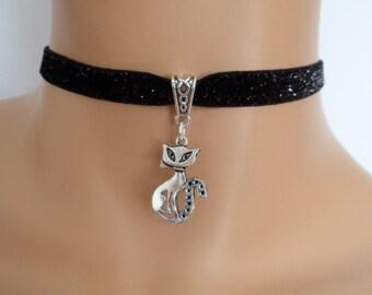cat choker, black velvet choker, glitter necklace, elasticated ribbon