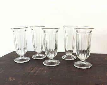 5 Vintage ribbed soda glasses, 4 oz footed ice cream sundae, milkshake or parfait glasses