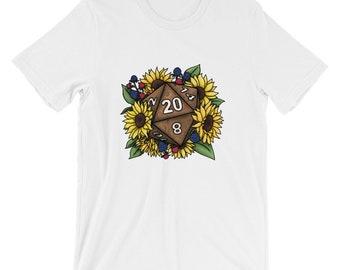 Sunflower D20 Short-Sleeve Unisex T-Shirt - D&D Tabletop Gaming