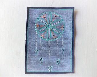 Dream Catcher , Large Dream Catcher Patch, Sew On Fabric Patches , |Denim Fabric, hippie patch, groovy patch, Dream Catcher Art, Native Art