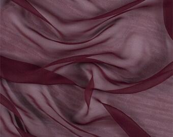 Burgundy Silk Chiffon, Fabric By The Yard